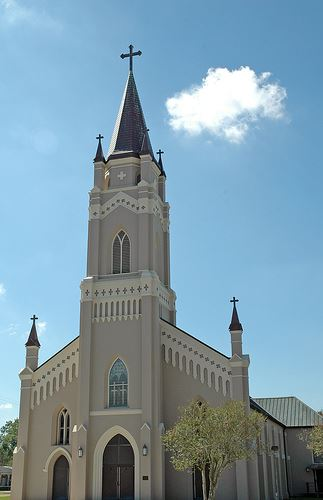 Saint Philomena Church front view with steeple